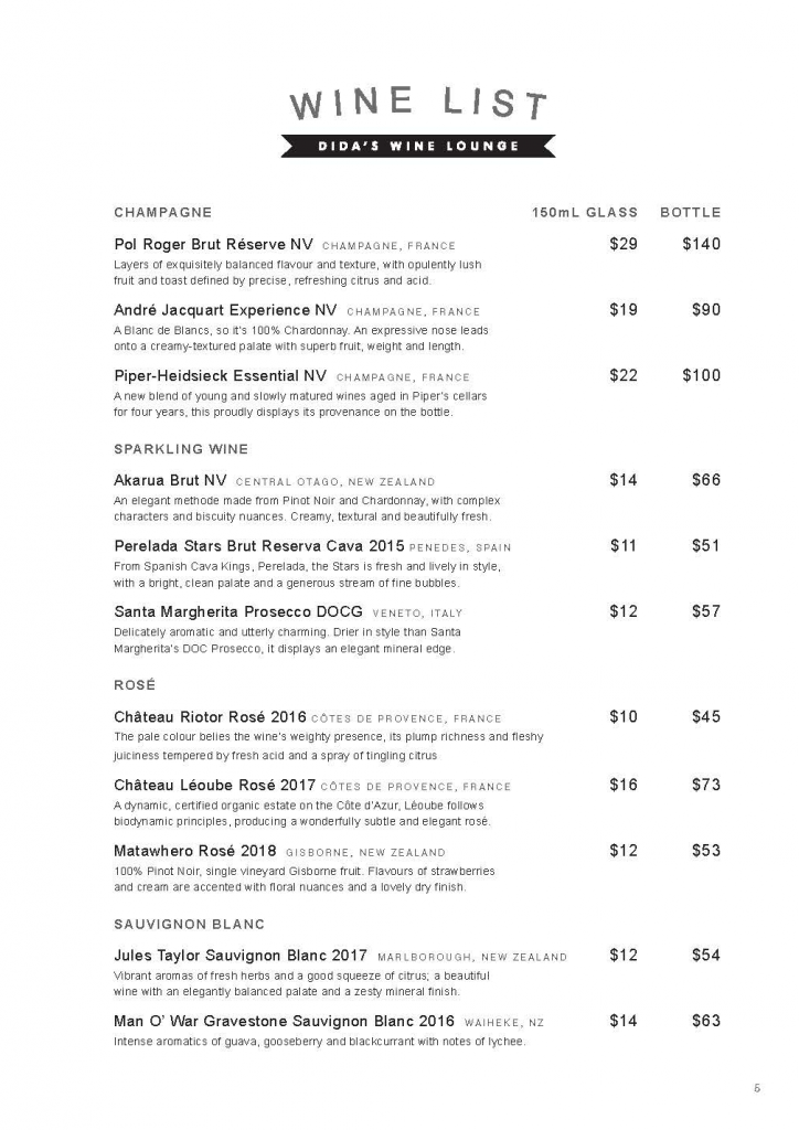 WINE LIST PAGE 1 DIDAS WINE LOUNGE