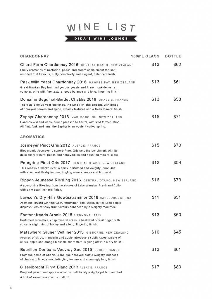 WINE LIST PAGE 2 DIDAS WINE LOUNGE