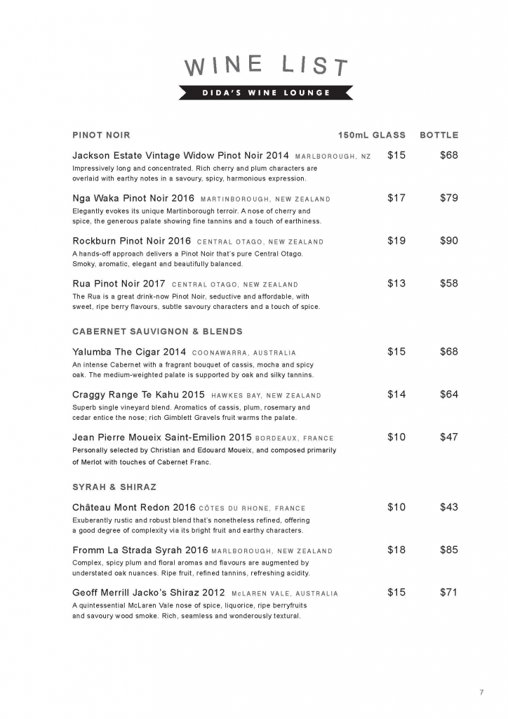 WINE LIST PAGE 3 DIDAS WINE LOUNGE