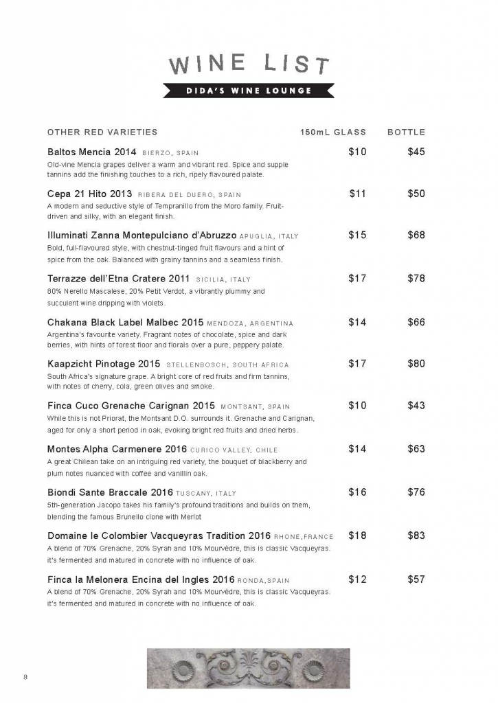 WINE LIST PAGE 4 DIDAS WINE LOUNGE